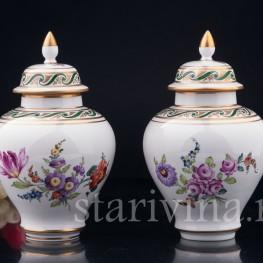 Парные вазы с крышками, Carl Thieme, Германия, вт. пол. 20 в